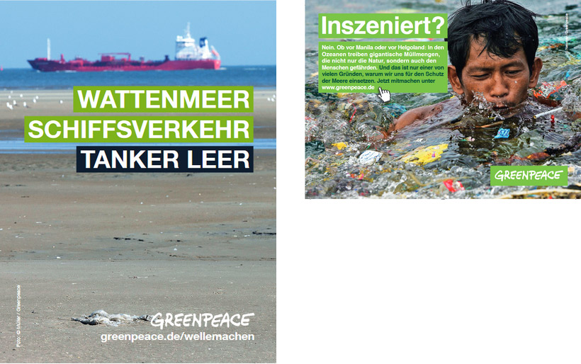 two ads of greenpeace showing a ship and a kid covered in plastic