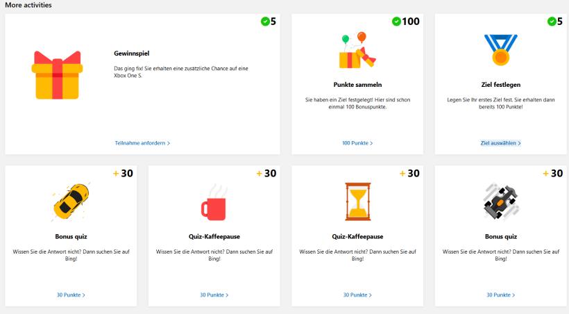 Microsoft Rewards Engagement-Möglichkeiten im Onboarding